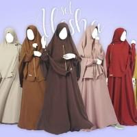 Baju Gamis Alesha Set Plus Khimar By Nafis - Hitam