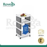 Rovega Supra Rak Susun 3 Tingkat dengan Roda Premium 3 Tier Rack