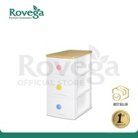 Rovega Gloria Lemari Baju Plastik Premium 3 Susun with Colorful Grip