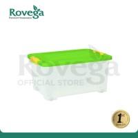 Rovega Kotak Kontainer Plastik Premium dengan 4 Roda 35 Liter HIJAU