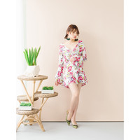 Yuan Market - Floral Lace Up Bell Sleeve Playsuit