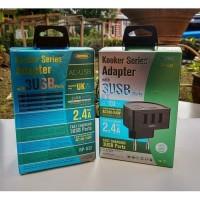 Remax Charger 3 Port Max 2.4A Kooker Series RPU32 Original
