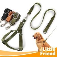 Harness Leash Tali Tuntun/Rantai Anjing Iron Warna Army Nylon Tebal