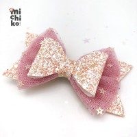 Glitter Party Bow Hairclip / Jepit Rambut - Baby Pink