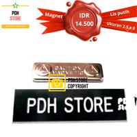 Papan nama grafir PDH 2.5 x 8 cm Magnet - IDR : 14.5K/pcs