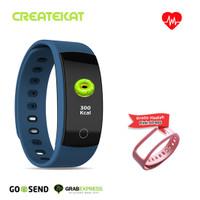 Createkat Smartwatch Heart Rate Monitor Smart Band Gelang Pintar - Biru