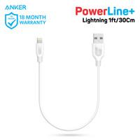 Kabel Charger Anker PowerLine+ Lightning 1ft/0.3m White - A8124