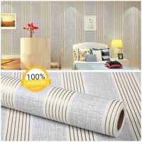 Grosir Termurah Wallpaper Sticker Dinding putih salur garis emas 10 M