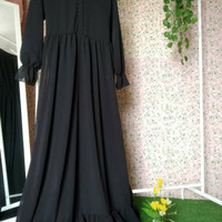 aisyah dress / basic rempel / gamis ceruty / gamis polos / gamis busui