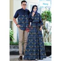 couple depita navy batik baju pasangan gamis wanita kemeja cp dep vt