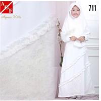 AGNES Gamis Putih Anak Perempuan Baju Muslim Lebaran Anak Wanita 711