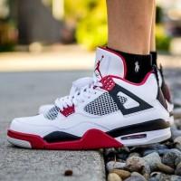 Sepatu Nike Air Jordan 4 Retro Fire Red Premium Original
