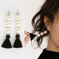 Anting Korea Pearl Tassel Long Earrings OKT071