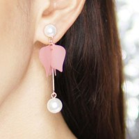 Anting Korea Flowers Pearl Frosted Leaves Tassel Earrings JUL314