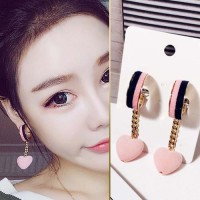 Anting Korea Double Color Velvet Love Tassel Earrings JUN092