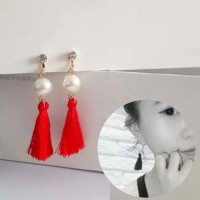 Anting Korea Pearl Tassel Ear Clip No Needle REA393
