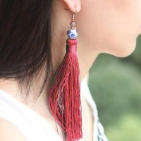 Anting Korea Colorful Ceramic Tassel Ears REA700