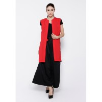 REE Two Tone Sleeveles Long Vest - Red