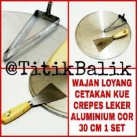 Wajan Loyang Cetakan Kue Crepes Leker 30 cm Besi Almunium Cor 1 Set