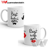 Gelas Mug Unik Souvenir Kado Mug Couple Best Husband an Wife Ever
