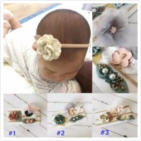 bandana set 3pcs headband nylon untuk bayi anak perempuan bando