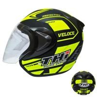 Helm Half Face Basic Veloce Yellow Black Doff Helm SNI dan Original