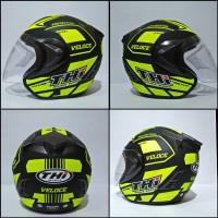 Helm Thi Half Face Veloce Yellow Black Doff Helm SNI dan Original