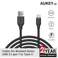 Aukey Kabel 2M USB 3.1 to Type C Braided Nylon CB-AC2 Black