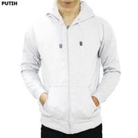 Jaket Sweater Polos Hoodie Zipper/Resleting Putih