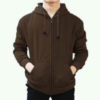 Jaket Sweater Polos Hoodie Zipper/Resleting - Coklat