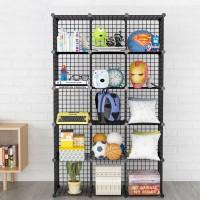 Rak buku besi rak serbaguna rak toys storage box lemari susun 15 kotak