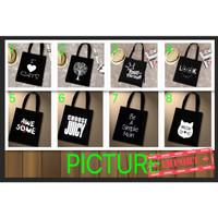 Tas Korea Hitam Simple White Tote Bag Part3 (WYK36D)