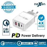 Naxen Charger 3 Port 18W PD 3.1& QC 3.0 Travel PD Quick Charger