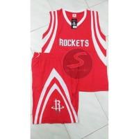 Setelan Jersey Baju Basket NBA Import - Houston Rocket Merah