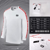 LONGSLEEVE NIKE NK SEOUL TAPED WHITE x RED | TSHIRT KAOS CASUAL