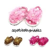 Sandal bayi perempuan kupu polka bulu sol karet tidak licin