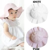 Topi bayi anak perempuan lebar/infant sunhat floral print - Putih