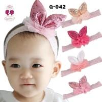 Bandana Bayi Anak Rabbit Sequin Bando   Baby Headband 4 - Rose