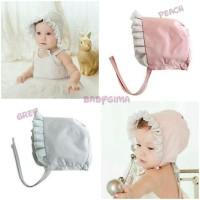 topi bayi perempuan bonnet polos - abu abu
