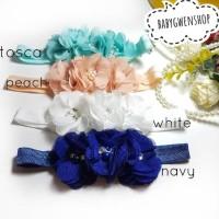 bandana bayi dan anak 3 bunga chiffon headband