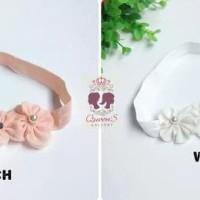 Bandana Bayi Anak Kembang Triple Bando   Baby Headband 2 - White