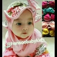 Jilbab bayi topi motif bunga