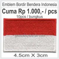 Emblem Bordir Bendera Indonesia 4.5 x 3 per bungkus