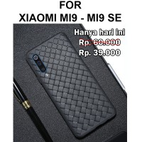 Woven case Xiaomi Mi9 - Mi9 SE softcase casing cover ultra thin botega - Hitam