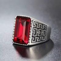 Cincin Stainless Steel silver safir merah biru cincin pria wanita new