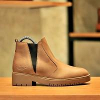 BRADLEYS - Sepatu Boots Wanita Wedges Boot Kulit Asli Audrey Tan