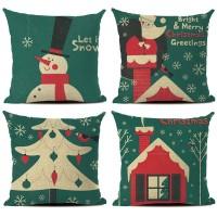 Sarung Bantal dengan Bahan Linen dan Gambar Motif Bernuansa Natal