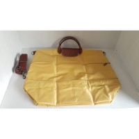 Tas Longchamp travel expandable mustard yellow & blue