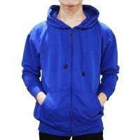 Jaket Sweater Polos Hoodie Zipper/Resleting - Biru