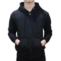 Jaket Sweater Polos Hoodie Zipper/Resleting - Hitam